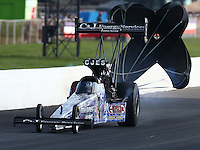 Sep 6, 2015; Clermont, IN, USA; NHRA top fuel driver Larry Dixon during qualifying for the US Nationals at Lucas Oil Raceway. Mandatory Credit: Mark J. Rebilas-USA TODAY Sports
