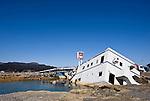 A temporary bridge is reconstructedon the Takata Bypass in Rikuzentakata,  Iwate Prefecture, Japan on 06 April 2011.  Photographer: Robert Gilhooly