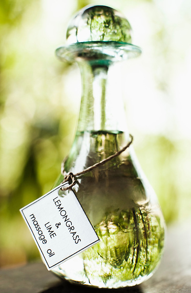 Bottle of lemongrass and lime massage oil, Ayung Spa, Ubud Hanging Gardens, Bali, Indonesia.