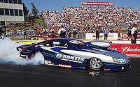 May 18, 2012; Topeka, KS, USA: NHRA pro stock driver Mark Martino during qualifying for the Summer Nationals at Heartland Park Topeka. Mandatory Credit: Mark J. Rebilas-