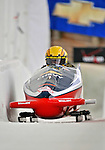 5 January 2008: Three time Powerade Pro Stock NHRA Champion Jeg Coughlin heads down the Chicane straightaway at the NASCAR vs NHRA Bobsled Elimination Challenge at the Olympic Sports Complex on Mount Van Hoevenberg, in Lake Placid, New York. ..Mandatory Photo Credit: Ed Wolfstein Photo