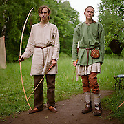 Nikolay and Vladislav from the Pskov club of Historical Reconstruction. They are in the IX-XI century department. Why? Because the clothes and weapons for that period are relatively easy to make as compared to the armour from the later ages that is hard both to make and wear.