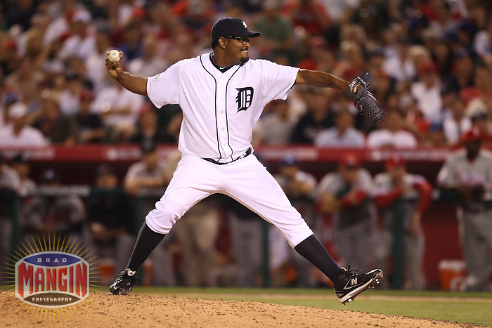 ANAHEIM - JULY 13:  Jose Valverde of the American League pitches in the All Star Game at Angel Stadium on June 13, 2010 in Anaheim, California. Photo by Brad Mangin