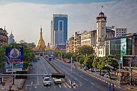 Myanmar, Burma.  Yangon, Sule Pagoda Road, Early Morning.