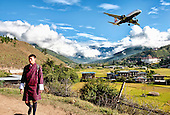 Bhutan, Paro valley, Landscape, Airplane, plane, young man, boy
