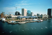 UNDATED..Redevelopment.Downtown South (R-9)..WATERSIDE MARINA.WITH CITY IN BACKGROUND...NEG#.NRHA#..