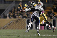 PITTSBURGH, PA - OCTOBER 30:  Ike Taylor #24 of the Pittsburgh Steelers breaks up a pass in front of Taylor Price #17 of the New England Patriots during the game on October 30, 2011 at Heinz Field in Pittsburgh, Pennsylvania.  (Photo by Jared Wickerham/Getty Images)