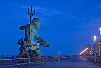 Virginia, Virginia Beach, Neptune, Sculpture Paul DiPasquale, dawn
