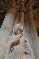 Statue of Saint Louis as a boy, 1939 by Felix Fevola, commissioned by the parish curate Father Jean, in the Collegiale Notre-Dame de Poissy, a catholic parish church founded c. 1016 by Robert the Pious and rebuilt 1130-60 in late Romanesque and early Gothic styles, in Poissy, Yvelines, France. Saint Louis was baptised here in 1214. The Collegiate Church of Our Lady of Poissy was listed as a Historic Monument in 1840 and has been restored by Eugene Viollet-le-Duc. Picture by Manuel Cohen