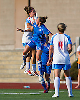Boston Breakers forward Amanda DaCosta (5) and Chicago Red Stars defender/midfielder Julianne Sitch (38) compete for a high ball.  The Boston Breakers beat the Chicago Red Stars 1-0 at Dilboy Stadium.