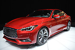 A red Infiniti Q60s 3.0t sports coupe is on display at the New York International Auto Show 2016, at the Jacob Javits Center. It was Press Preview Day one of NYIAS, and the Trade Show will be open to the public for ten days, March 25th through April 3rd.