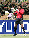 30 July 2006: Briana Scurry (USA) during pregame warmps. The United States Women's National Team defeated Canada 2-0 at SAS Stadium in Cary, North Carolina in an international friendly soccer match.