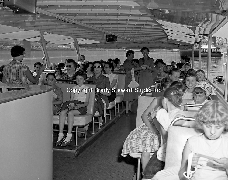 Pittsburgh PA:  Girl Scouts touring the Three Rivers on the new Gateway Clipper cruise line - 1958.  On May 17, 1958 the Gateway Clipper sailed from the Monongahela Wharf on the first chartered pleasure cruise on the three rivers.