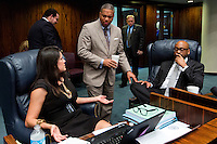 TALLAHASSEE, FLA. 5/3/13-SESSIONEND050313CH-Sens. Anitere Flores, R-Miami, left, Christopher Smith, D-Fort Lauderdale, and Sen. Oscar Braynon II, D-Miami, talk during a lull in the final day of the legislative session May 3, 2013 at the Capitol in Tallahassee. The trio has been working, thus far without much success, in moving the bill to fund the renovation of the Miami Dolphins stadium. .COLIN HACKLEY PHOTO
