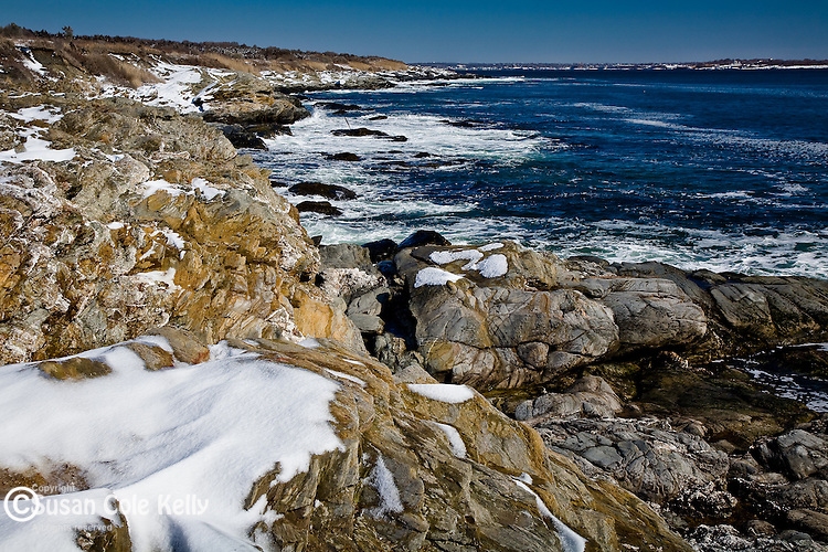 Snow in the rocky coast at Beavertail State Park, Jamestown, RI, USA