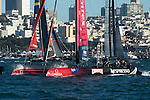 Emirates Team New Zealand lead all the way around the course in the first fleet race of day four of the America's Cup World Series, San Francisco. 6/10/2012