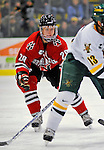 19 January 2008: Northeastern University Huskies' defenseman Mike Hewkin, a Freshman from St. Charles, MO, in action against the University of Vermont Catamounts at Gutterson Fieldhouse in Burlington, Vermont. The Catamounts defeated the Huskies 5-2 to close out their 2-game weekend series...Mandatory Photo Credit: Ed Wolfstein Photo