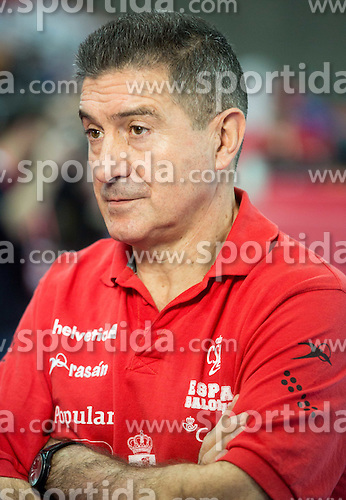 Manolo Manuel Cadenas, head coach after the practice session of Team Spain on Day 1 of Men's EHF EURO 2016, on January 15, 2016 in Centennial Hall, Wroclaw, Poland. Photo by Vid Ponikvar / Sportida