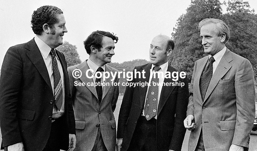 New ministers at Aras an Uachtarain in the grounds of Phoenix Park, Dublin, Rep of Ireland - l to r - Brian Lenihan, Des O'Malley, Dr Martin O'Donoghue, and Tony Hedderman, attorney general. 195/77, 197707000195.<br /> <br /> Copyright Image from Victor Patterson, 54 Dorchester Park, Belfast, UK, BT9 6RJ<br /> <br /> t1: +44 28 9066 1296 (from Rep of Ireland 048 9066 1296)<br /> t2: +44 28 9002 2446 (from Rep of Ireland 048 9002 2446)<br /> m: +44 7802 353836<br /> <br /> e1: victorpatterson@me.com<br /> e2: victorpatterson@gmail.com<br /> <br /> The use of my copyright images is subject to my Terms &amp; Conditions.<br /> <br /> It is IMPORTANT that you familiarise yourself with them. They are available on my website at www.victorpatterson.com.<br /> <br /> None of my copyright images may be used on a website unless they are visibly watermarked, i.e. &copy; Victor Patterson within the body of the visible image. Metadata denoting my copyright must NOT be deleted. <br /> <br /> Web use (maximum size - 400 kb) is extra at currently recommended NUJ rates.