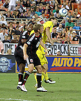 Julius James #2 of D.C. United pushes into the back of Chad Marshall #14 during an MLS match against the Columbus Crew at RFK Stadium on September 4 2010, in Washington DC. Columbus won 1-0.
