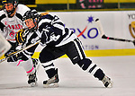 29 January 2012: University of New Hampshire Wildcat forward Kayla Mork, a Freshman from Victoria, MN, in action against the University of Vermont Catamounts at Gutterson Fieldhouse in Burlington, Vermont. The Lady Cats edged out the Lady Wildcats 2-1 to split their Hockey East twin-game weekend series. Mandatory Credit: Ed Wolfstein Photo