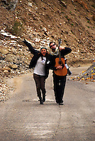"""Maral with the bass guitarists from Kabul based band """"White City"""" on a tour of Tajikistan"""