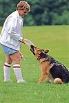 Woman &  Shepherd Playing Frisbee