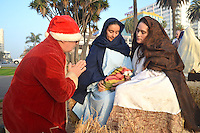 Volunteers from the Christian Defense Coalition staged a Live Nativity Scene.at Palisades Park on Saturday, December 8, 2012..