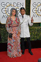 Pharrell Williams &amp; Mimi Valdez at the 74th Golden Globe Awards  at The Beverly Hilton Hotel, Los Angeles USA 8th January  2017<br /> Picture: Paul Smith/Featureflash/SilverHub 0208 004 5359 sales@silverhubmedia.com