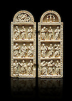 Medieval Christian ivory diptych depicting the Nativity, the crucifixion and the Profits. Thirteenth century probably from Byzantine Roman Constantinople, present day Istanbul. Inv. OA 12442, The Louvre Museum, Paris.