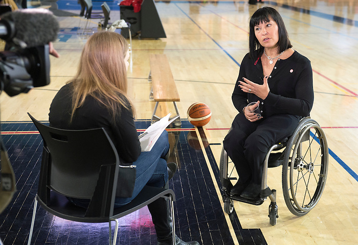 FEBRUARY 26, 2016, TORONTO, ON; Chantal Petitclerc, Chef de Mission for the Rio 2016 Canadian Paralympic Team, visits the Toronto Pan Am Sports Centre to inspire local Rio hopefuls including wheelchair basketball players Bo Hedges and Melanie Hawtin. Special guests included University of Toronto Scarborough Campus senior lecturer Hon. David Onley, Olympians Mark Tewksbury and Curt Harnett, ex-Toronto Maple Leaf Peter Ihnacak and Toronto FC alumni Dwayne De Rosario. Photo: Dan Galbraith / Canadian Paralympic Committee