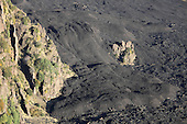 Fan-shaped solidified lava flow in Valle del Bove, Mount Etna Volcano, Italy