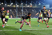Ahsee Tuala of Northampton Saints scores a try in the second half. European Rugby Champions Cup match, between Northampton Saints and Leinster Rugby on December 9, 2016 at Franklin's Gardens in Northampton, England. Photo by: Patrick Khachfe / JMP