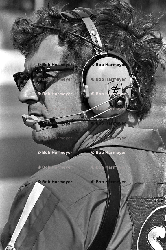 DARLINGTON, SC - APRIL 11: Dale Inman, crew chief for Richard Petty's #43 Dodge, watches from the pit lane during the Rebel 500 NASCAR Winston Cup Race at the Darlington Raceway near Darlington, South Carolina, on April 11, 1976.