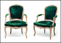 BNPS.co.uk (01202 558833)<br /> Pic: Christie's/BNPS<br /> <br /> ***Please use full byline***<br /> <br /> A pair of Louis XV grey-painted Fauteuils.<br /> <br /> An interior designer to the stars is selling virtually the entire contents of her multi-million pounds London apartment that she is moving out of.<br /> <br /> Tessa Kennedy's client list for home makeovers has included Elizabeth Taylor, George Harrison and Pierce Brosnan as well as famous hotels like the Ritz and Claridges.<br /> <br /> During her jet-set career, she acquired opulent pieces of furniture, art work and ornaments from around the world that she filled her town and country residence with.<br /> <br /> Now aged 75, Miss Kennedy no longer requires her three-bed Knightsbridge flat and is auctioning off most of its contents in a unique sale at Christie's.
