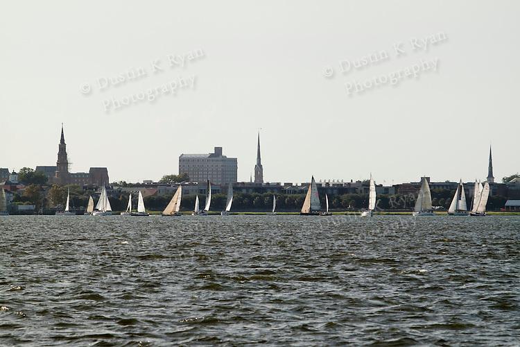 sailboat race off the charleston battery south carolina