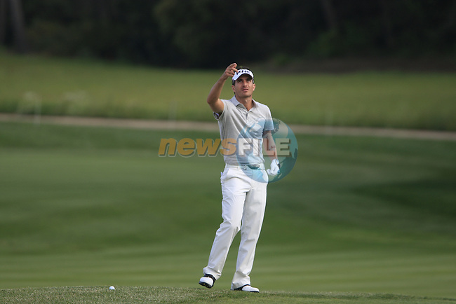 Alejandro Canizares (ESP) checks the breeze before playing his 3rd shot on the 17th hole during Day 1 of the Open de Espana at Real Club De Golf El Prat, Terrasa, Barcelona, 5th May 2011. (Photo Eoin Clarke/Golffile 2011)