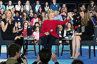 HAVERFORD, PA - OCTOBER 4 :  Hillary Clinton, Chelsea Clinton and actress Elizabeth Banks pictured holding a conversation with families about her agenda to support children and families and create an economy that works for everyone at Haverford Community Recreation & Environmental Center in Haverford, Pa on October 4, 2016  photo credit  Star Shooter/MediaPunch