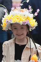 A young girl with a bonnet during the 2011 New York City Easter Parade.