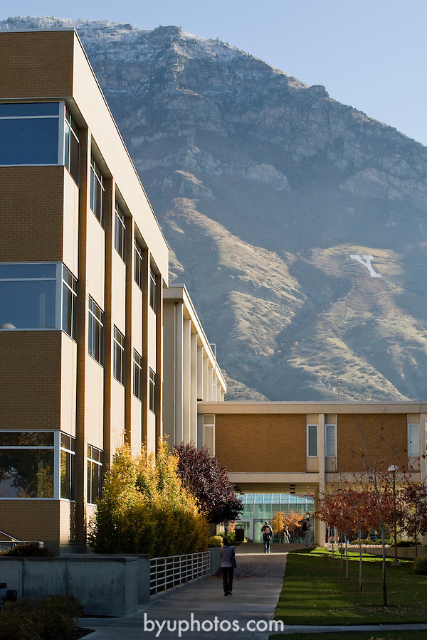 0811-01 GCS November.0811-01 GCS 009..Hinckley Tower (GBHB) and Timp Mountain, Talmage Building (TMCB), and JFSB .  General Campus Scenics (GCS) around campus...November 3, 2008..Photo by: Mark Philbrick/BYU..Copyright BYU PHOTO 2008.All Rights Reserved.801-422-7322.photo@byu.edu.