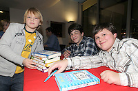 NO FEE PICTURES.29/11/11 Cal McWilliams (left) with actors Zachary Gordon (Greg) and Robert Capron (Rowley)  in Dublin to celebrate the launch of Diary of a Wimpy Kid: Cabin Fever at a one off event held at Liberty Hall Theatre in association with Eason. Pictures:Arthur Carron/Collins