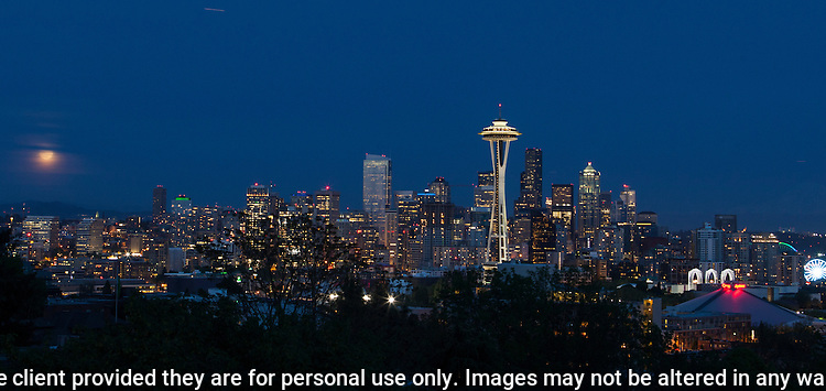 Seattle Space Needle and Skyline at dusk with city lights.  ©2014. Jim Bryant Photo. All Rights Reserved.