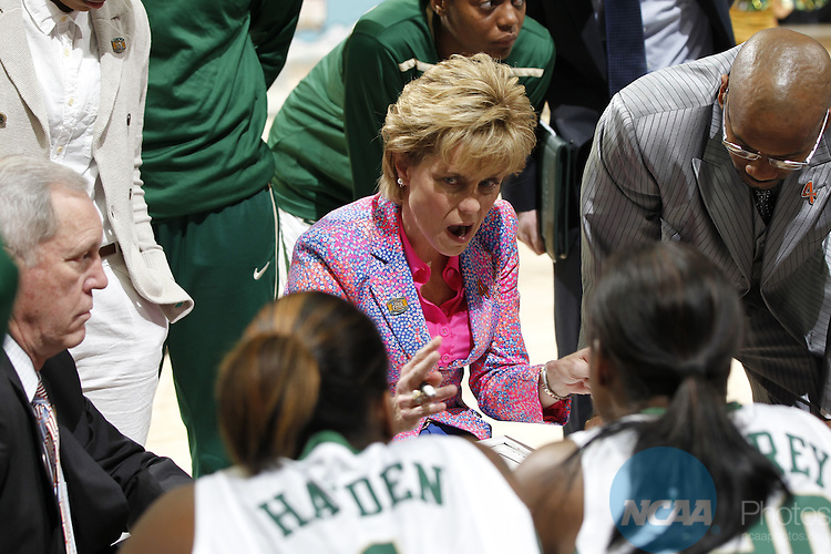 01 APRIL 2012:  Baylor University coach Kim Mulkey coaches her team during a time out against Stanford during the Division I Women's Final Four semifinals at the Pepsi Center in Denver, CO.  Baylor defeated Stanford 59-47 to advance to the championship final.  Jamie Schwaberow/NCAA Photos