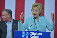 MIAMI, FL - JULY 23: Democratic Presumptive Nominee for President former Secretary of State Hillary Clinton (R) speaks at a rally with the Democratic candidate for Vice President, U.S. Senator Tim Kaine (D-VA) (L) during a campaign rally with Florida voters at the Florida International University Panther Arena, Florida on Friday, July 23, 2016. With two days to go until the Democratic National Convention, Hillary Clinton is campaigning in Florida.  Credit: MPI10 / MediaPunch