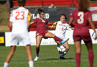 COLLEGE PARK, MD - OCTOBER 21, 2012:  Aubrey Baker (3) of the University of Maryland challenges for the ball with Carson Pickett (16) of Florida State during an ACC women's match at Ludwig Field in College Park, MD. on October 21. Florida won 1-0.