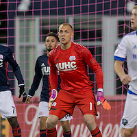 Foxborough, Massachusetts - October 23, 2016: In a Major League Soccer (MLS) match, New England Revolution (blue/white) defeated Montreal Impact (white), 3-0, at Gillette Stadium.