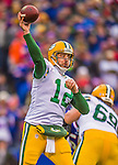 14 December 2014: Green Bay Packers quarterback Aaron Rodgers makes a forward pass in the first quarter against the Buffalo Bills at Ralph Wilson Stadium in Orchard Park, NY. The Bills defeated the Packers 21-13, snapping the Packers' 5-game winning streak and keeping the Bills' 2014 playoff hopes alive. Mandatory Credit: Ed Wolfstein Photo *** RAW (NEF) Image File Available ***