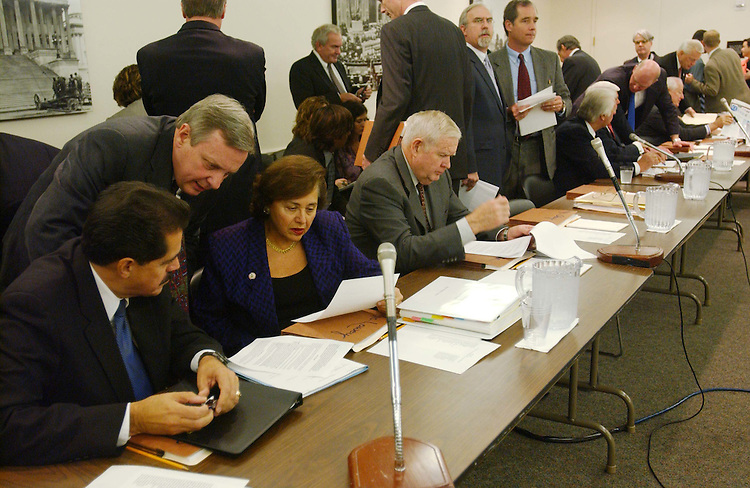 10/28/03.FISCAL 2004 SUPPLEMENTAL IRAQ AND AFGHANISTAN OPERATIONS/CONFERENCE COMMITTEE--Rep. Jose E. Serrano, D-N.Y., Sen. Richard J. Durbin, D-Ill., and Rep. Nita M. Lowey, D-N.Y., consult as House and Senate conferees gather to consider legislation that would make supplemental fiscal 2004 appropriations for operation in Iraq and Afghanistan. .CONGRESSIONAL QUARTERLY PHOTO BY SCOTT J. FERRELL