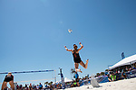 GULF SHORES, AL - MAY 07: Kelly Claes (3) of the University of Southern California takes serves the ball against Pepperdine University during the Division I Women's Beach Volleyball Championship held at Gulf Place on May 7, 2017 in Gulf Shores, Alabama. The University of Southern California defeated Pepperdine 3-2 to claim the national championship. (Photo by Stephen Nowland/NCAA Photos via Getty Images)