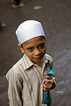 Boy on his way to school, Old Delhi.